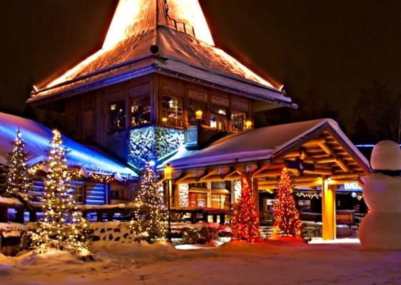 Beautifully illuminated Santa Claus Village in Rovaniemi, Lapland