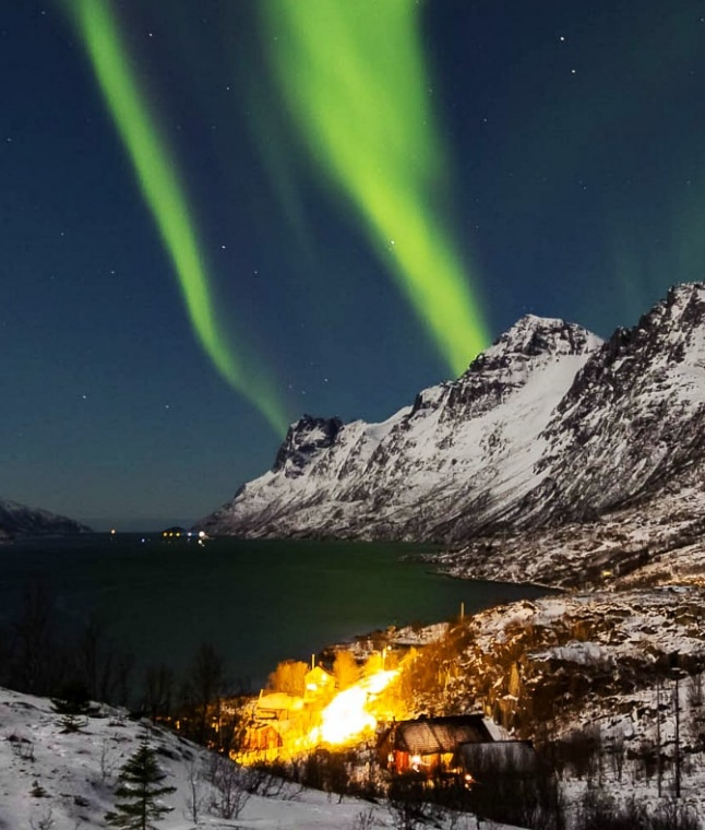 The miracle of Northern Lights near Tromso, Norway